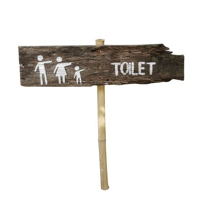 Text toilet in a wooden board on white background Standard-Bild