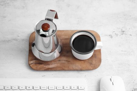 Coffee in cup and computer on rustic table with a blank space for a text, Espresso in cup on white background