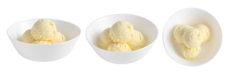 group of vanilla ice cream in ceramic cup isolated on white background