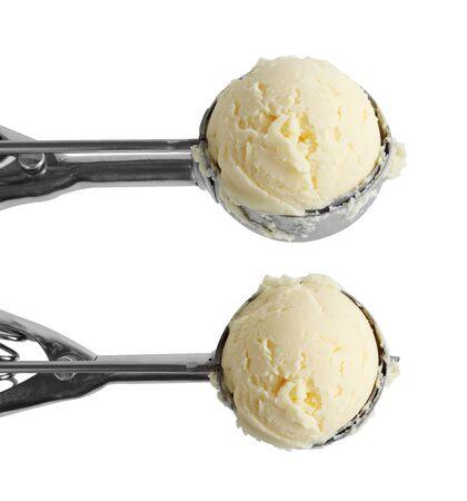 vanilla ice cream and metal ice cream scoop isolated on white background