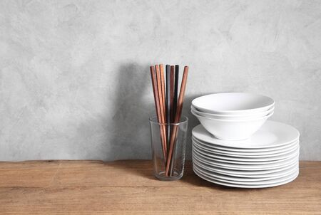 Chinese utensils in restaurant with a blank space for a text, Chinese kitchen background