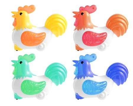 miniature toy chicken car isolated on white background