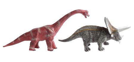 Dinosaur toy isolated on white background, Miniature dinosaur model Stock Photo