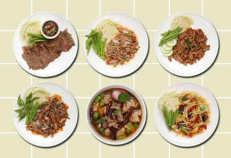 Thai eastern food isolated on pastel background