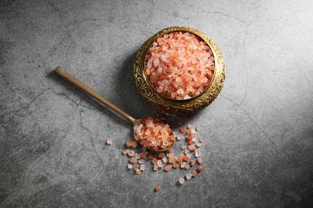 Himalayan pink salt in golden box at loft kitchen