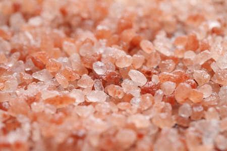 close up a pile of Himalayan pink salt in natural light