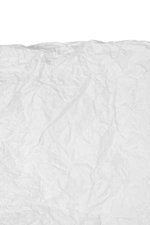 Close up texture of crumpled paper isolated on white background