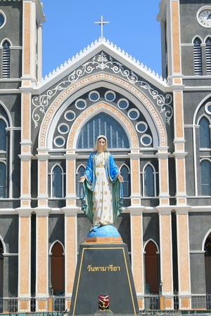 Virgin mary statue and Catholic Church in Chantaburi province, Thailand photo