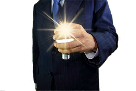 Picture of hand holding a light bulb. Stock Photo - 12391220