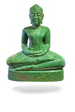 Buddha made of Jade isolated over a white background photo