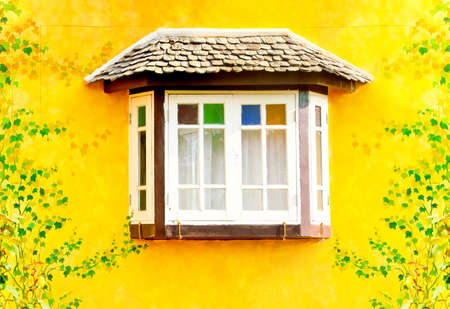 picture of white window on yellow wall  Stock Photo - 12907404