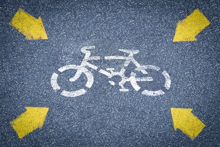 picture of white painted sign for bikes lane Stock Photo - 13089525