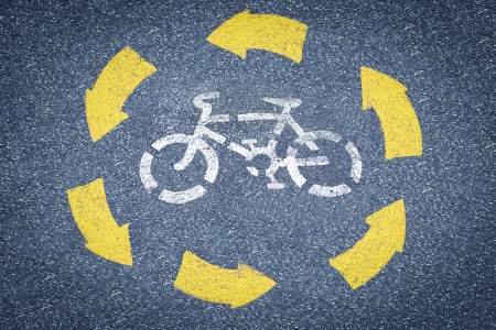 picture of white painted sign for bikes lane  Stock Photo - 13089522