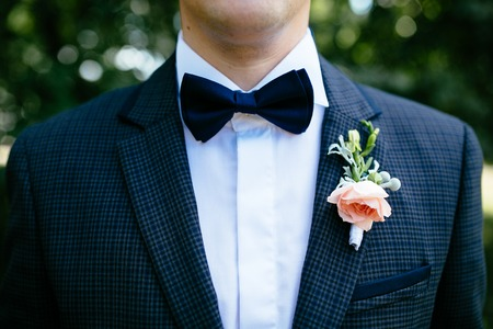 buttonhole: The groom in a suit with a buttonhole and a butterfly