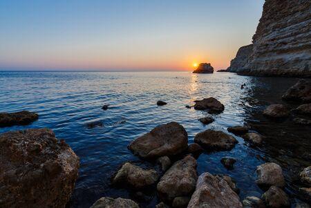 seashores: Sunset on the rocky seashore, Cape Fiolent, Crimea