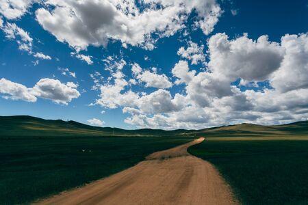 suelo arenoso: A sandy road through a green field