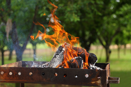 Burning Outdoor Grill Stock Photo