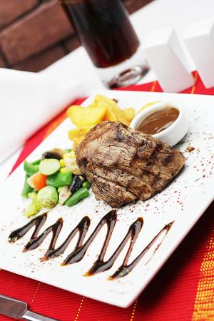 beef tenderloin steak with garnish