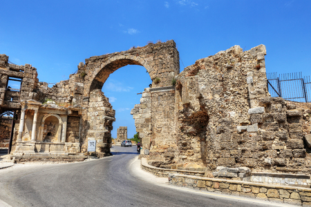 Ruins of agora, ancient city in Side in a beautiful summer day, Antalya, Turkey