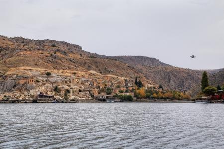 Landscape of Halfeti in the foreground Euphrates River and Sunken Mosque. Sanliurfa, Gaziantep in Turkey Stock Photo