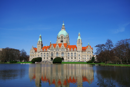 View of New City Hall (Neues Rathaus) of Hannover, Germany