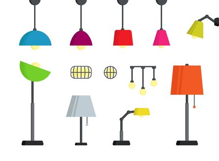Lamps Set in Different colors. Modern style colored standing lamps Illustration