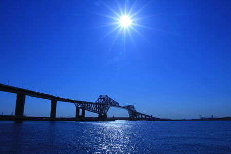 The blue sky of the Tokyo Bay gate bridge