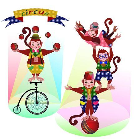 재미 있은 서커스 원숭이