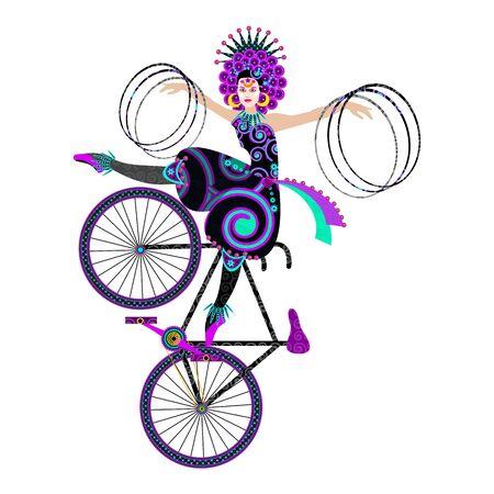 예술 자전거 서커스 소녀에 의해 훌라 후프와 트릭. 스톡 콘텐츠