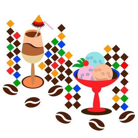 Coffee latte with ice cream. vector illustration