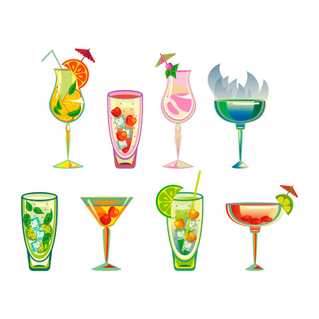 cocktails, vector illustration