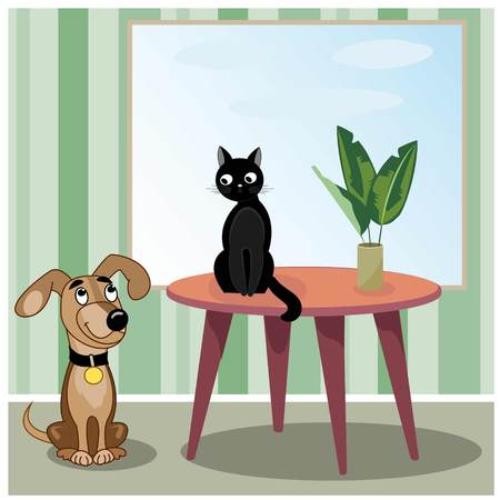 that: Dog looks at black cat that sits on table in living room. Vector illustration