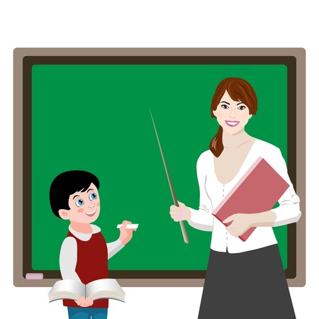 obedient: Vector illustration of boy and teacher, who stands at the blackboard and chalk with book. EPS 10