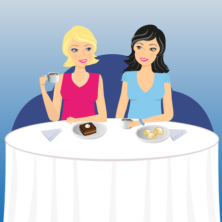 drink coffee: Illustration of two young and trendy women who drink coffee and cake in the cafe
