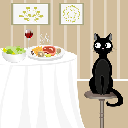 misconduct: Illustration of black cat sitting on a stool and looking at the food on the background of cozy room