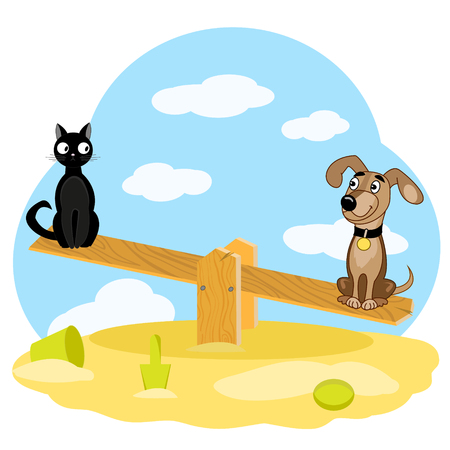 Cat and dog sit on wooden swing on sandbox on background of blue sky. illustration Vektoros illusztráció