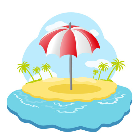 sandpit: Striped beach umbrella on sandy island with palm trees in sea. illustration Illustration