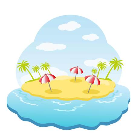 sandpit: Three striped parasol on sandy island with palm trees in sea.
