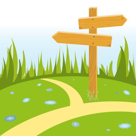 crossroads: Wooden pointer arrow at crossroads on green flower meadow. illustration Illustration