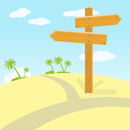 landscape road: Wooden signpost at crossroads in desert on sunny day. illustration