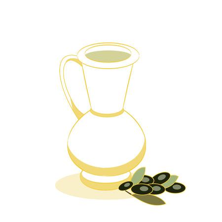 Cruche jaune avec huile d'olive et branche d'Olivier sur fond blanc. Illustration vectorielle