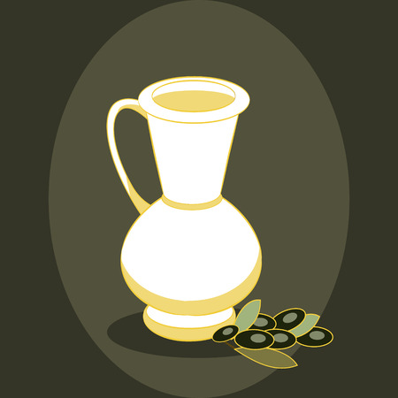 oil crops: Yellow jug with olive oil and olive branch on dark background. Vector illustration