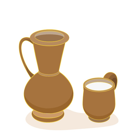 ewer: Clay jug and mug with milk on white background. Vector illustration