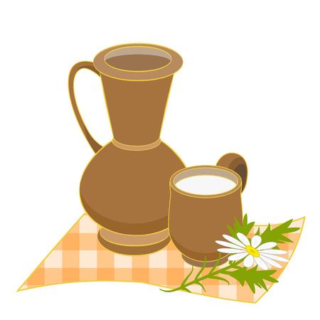 Clay jug and mug with milk on checkered napkin and chamomile. Vector illustration Vector Illustration