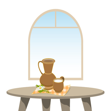 natural arch: Clay jug and mug of milk on table against window. Vector illustration