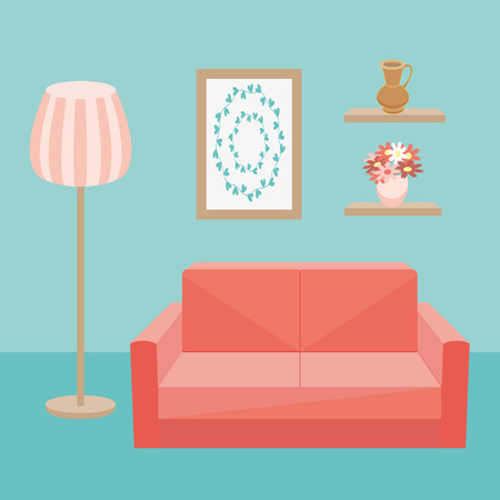 celadon: Red sofa and floor lamp in interior of room where walls are picture and vase. Vector illustration Illustration