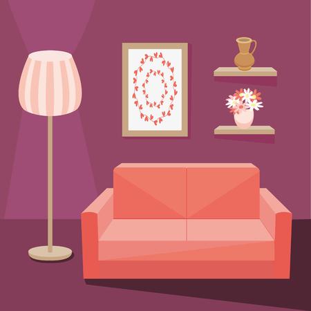 lap of luxury: Red sofa in dark purple living room with floor lamp burning next to shelf where vase. Vector illustration