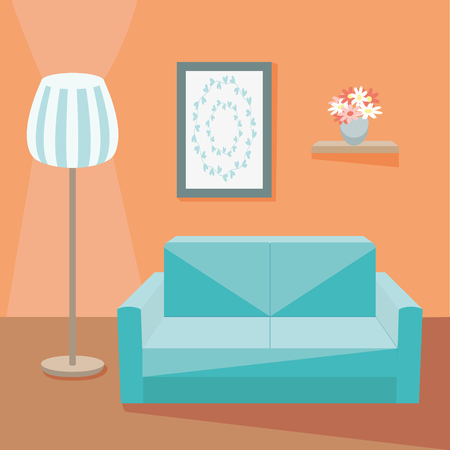 living room wall: Cozy living room with sofa and floor lamp and picture on wall. Vector illustration Illustration