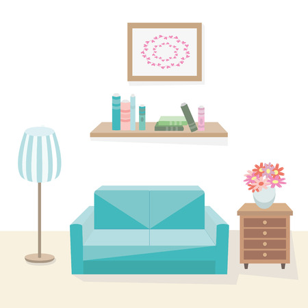 cozy: Interior of cozy living room. Elements of furniture for home sofa, dresser, floor lap, bookshelf with books, vase with f flowers. Vector flat illustrations