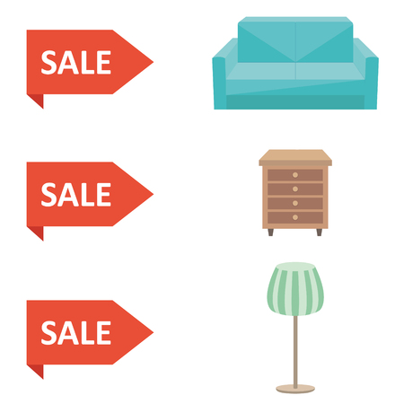 dresser: Set of furniture from sofa, dresser and lamp submitted for sale in shop with discount on red price tags. Vector flat illustrations